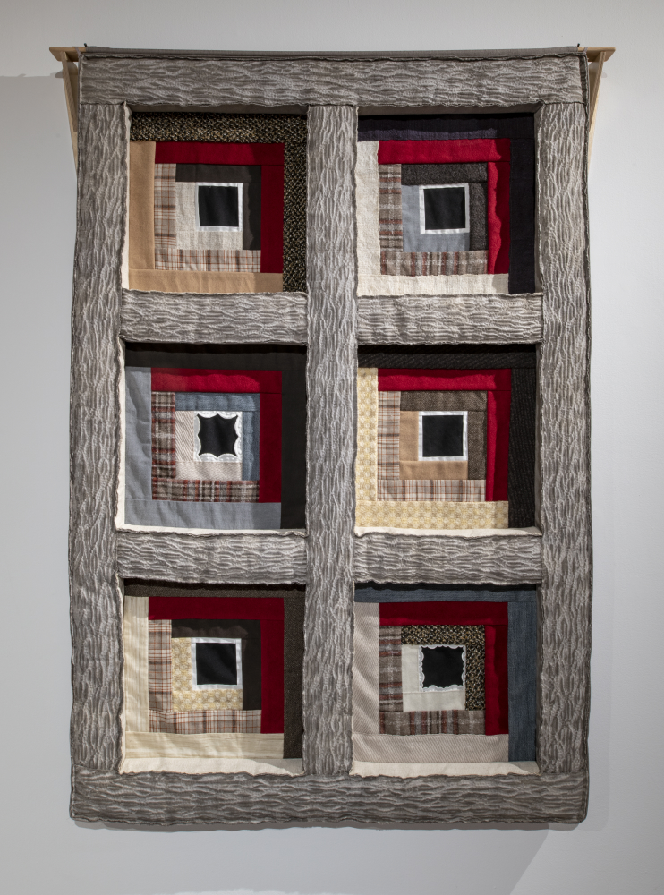 Echo 2: Deconstruction 2018 - 6 log cabin patchwork squares composed of used clothing, joined by hand-woven shibori-dyed cotton-linen strips, the latter raised and stuffed for a coffered effect 183 x 122 x 7 cm (photo credit: Steve Farmer)