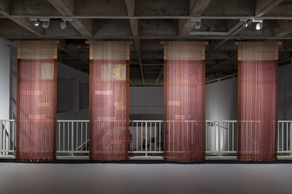 Echo 1: Reflection 2018 (detail) - 5 panels of pearl cotton woven in loom-controlled leno lace 264 x 96 cm (each panel) (photo credit: Steve Farmer)