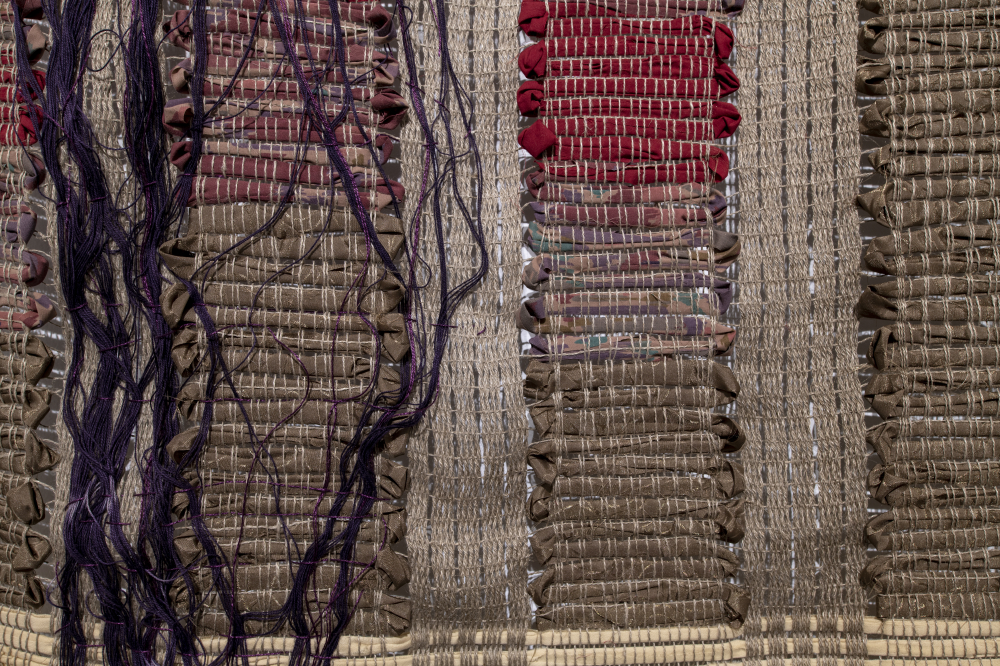 Echo 4: Growth 2018 (detail) - Linen warp and weft of recycled fabrics and fibres woven alternately in rag rug (catalogne) and loom-controlled leno lace. 350 x 122 cm (photo credit: Steve Farmer)