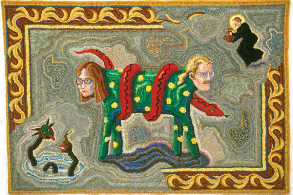 Nancy Edell, Halifax,NS 'Peter and Nancy as the Two-headed Dog', 1993 Various yarns, burlap, hooked 66 x 96 cm Dalhousie Art Gallery permanent collection Gift of the artist, 1999 Photo by Steve Farmer