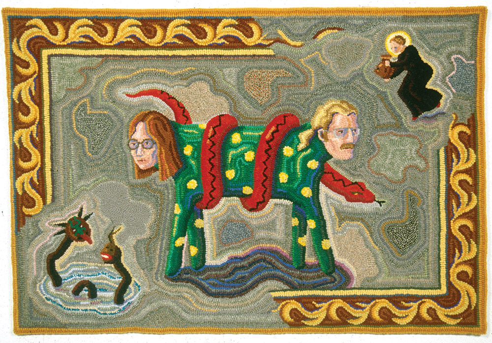 Nancy Edell, Halifax,NS 'Peter and Nancy as the Two-headed Dog', 1993 Various yarns, burlap, hooked 66 x 96 cm Dalhousie Art Gallery permanent collection Gift of the artist, 1999 Photo by Steve Farmer (1993)