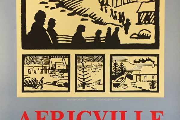 Africville: A Spirit that Lives On exhibition poster (1989) featuring work by Ruth Johnson.