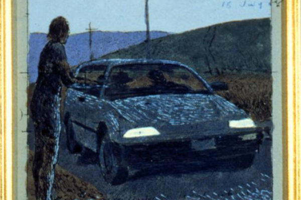 Alex Colville. Kiss with Honda 25. Coloured ink and acrylic on paper. dimensions unknown. (1988)