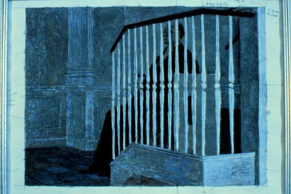 Alex Colville. Study for Chaplain 22. Acrylic on paper. dimensions unknown. (1991)