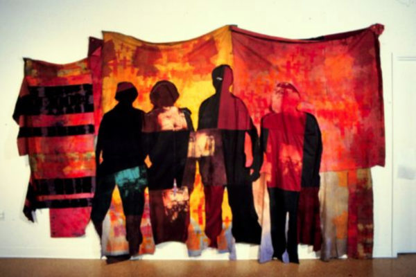 Frances Dorsey. Dragon's Teeth 1994. Pieced fabric, dyes, resists, photo-silkscreen. 2.7m x 3.96m x 8cm. MSVU collection. Purchase, (1999)