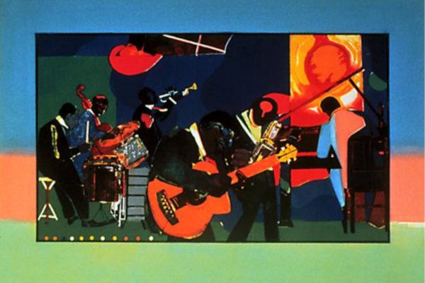 Romare Bearden. Jamming at the Savoy. Silkscreen, 40.64 x 60 cm (1980-81)