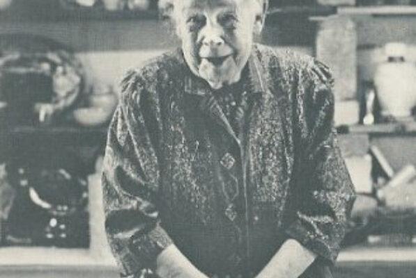 Alice Egan Hagen (1872-1972), pioneer studio potter, photographed in her Mahone Bay, N.S. studio (date unknown)