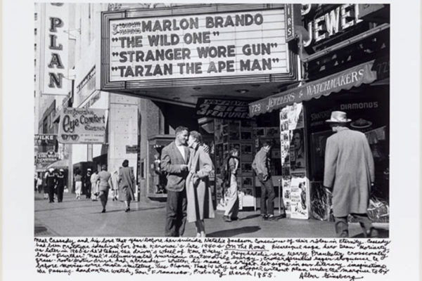 Allen Ginsberg, Neal Cassady and Natalie Jackson underneath movie marquee, San Francisco. silver gelatin print (1955)