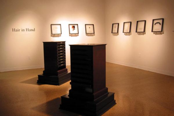 Andrea Ward. Hairstories 1989-1994. Hair, printed text and mixed media. (2003)
