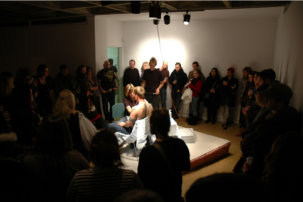Bite and Burn, encore performance with Jason Fitzpatrick, Amber Thorpe (tattooist), Dax Morrison (printmaker), and Stefan Hancherow (print runner) at MSVU Art Gallery on 10 January '09 #6 (2009)