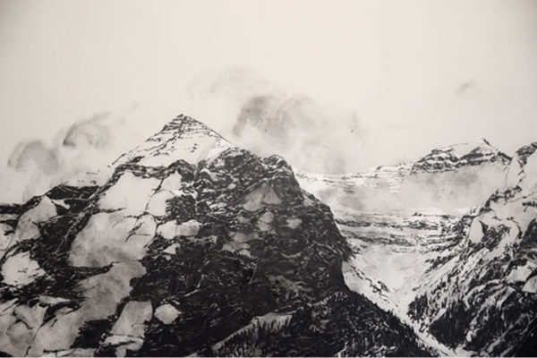 Charley Young, Rocky Mountains Diptych (detail) diptych with maple wall braces (2014)