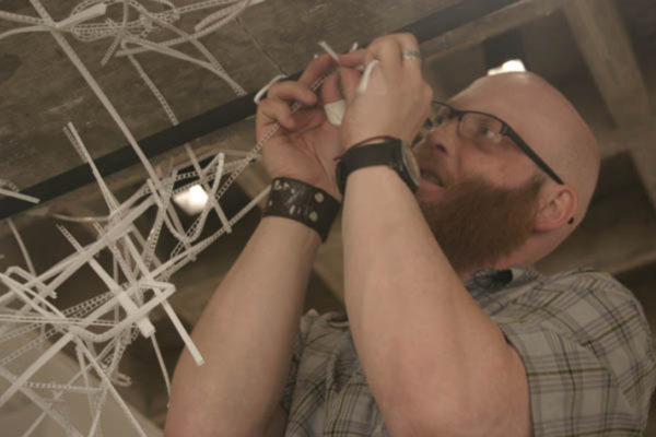 David Dahms working in the main space of MSVU Art Gallery - Photo- Stefan Hancherow(2009)