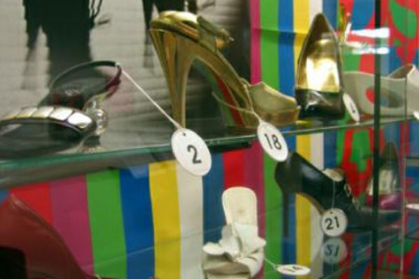 Detail view of Mean Feet installation, vitrine #2. Photo by Tania Sures (2003)