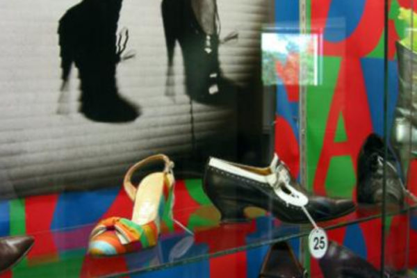 Detail view of Mean Feet installation, vitrine #3. Photo by Tania Sures (2003)