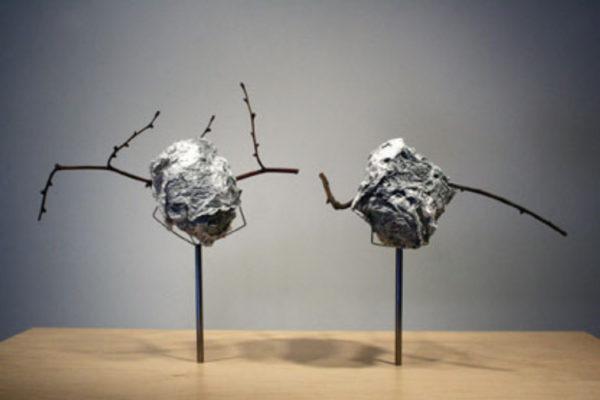 Douglas Coupland School Spirit 2004 chewed up book on metal rods, twigs (Photo- Danny Custudio:Monte Clark Gallery (2004)