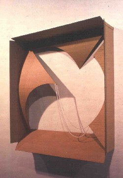 Elspeth Pratt. Arsenic and Lace, 1997. cardboard and beads, 103 x 96.5 x 25.0cm. Art Gallery of Nova Scotia Collection, Gift of the artist (2003)