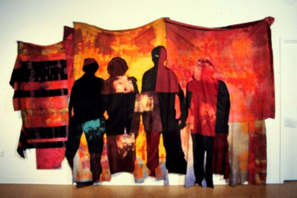 Frances Dorsey. Dragon's Teeth 1994. Pieced fabric, dyes, resists, photo-silkscreen. 2.7m x 3.96m x 8cm. MSVU collection. Purchase (1999)