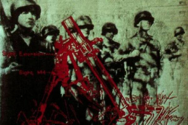 Frances Dorsey. Soldiers & Guns (detail). Jacquard woven digital images, 100.6 x 100.6 cm (1999)
