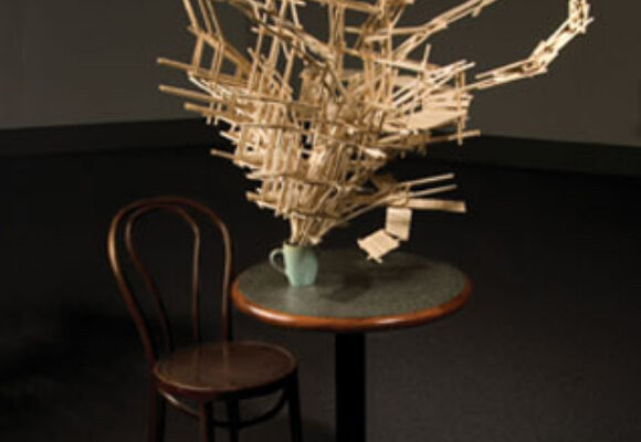 Guy Laramée Borges' Last Coffee 2006 basswood, table with metal stand, chair. Photo- David Popplow (2006)