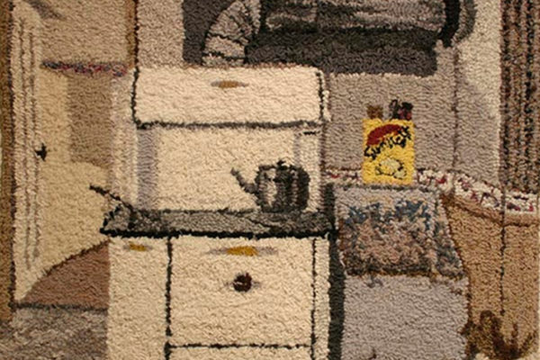 Joanna Close The Kitchen. hand-dyed wool rag hooked on a burlap backing (2014)