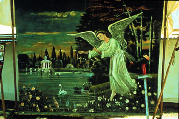 Painter unknown. Angel Backdrop n.d. Oil on seamed heavy canvas, Guatemala, 251.46 x 297.18 cm. Collection of Ann Parker and Avon Neal (date unknown)