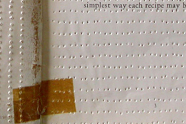 Panya Clark Espinal Frigidaire 2006 (detail) Perforated 1929 Frigidaire Recipes book 14 x 21 x 1 cm (2006)