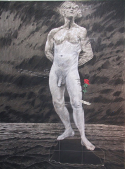 Peter Walker A Flower for Saint Sebastion. charcoal, oil, acrylic on canvas (2003)