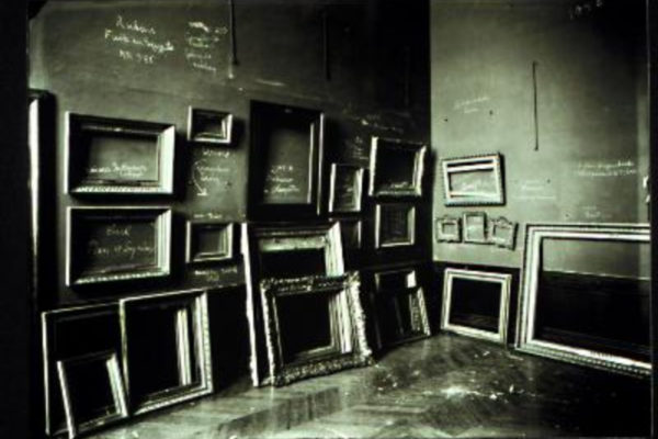 Photographer unknown. Musée du Louvre, Paris, World War II occupation. Black and white photograph (1940s)