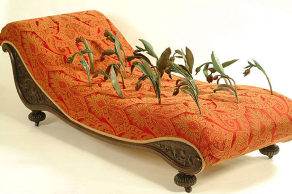 Sarah Maloney Collapse. Antique fainting couch, bronze, fabric (2009)