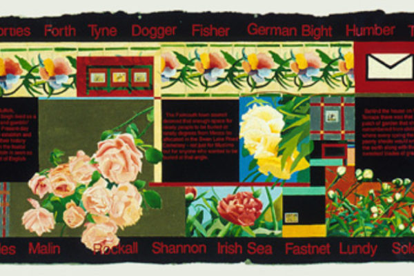 "Sarindar Dhaliwal, Peonies II 1997, mixed media on paper, 32"" x 95"", Collection of the Walter Phillips Gallery, Banff Centre (1997)"