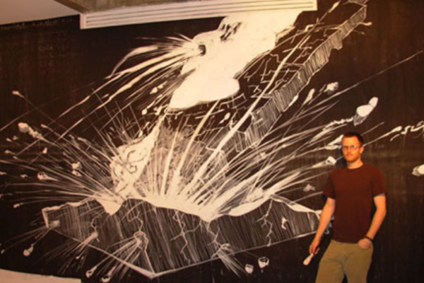 Stephen Fisher No Place (Wall Painting) acrylic and latex on 21-foot wide wall (2006)