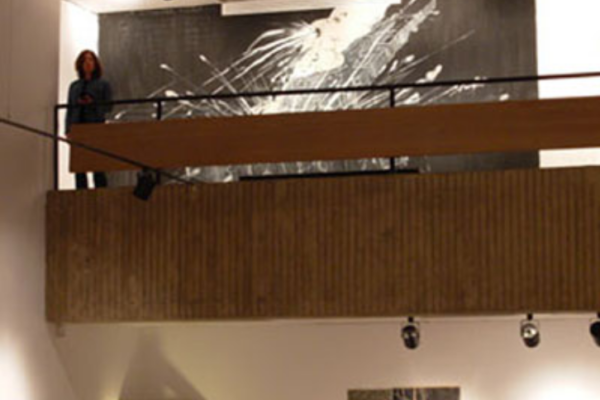 Stephen Fisher No Place (Wall Painting) acrylic and latex on 21-foot wide wall- view from main floor gallery (2006)
