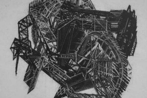 Steve Higgins. Asylum Infidorum. Charcoal on paper, 8 x 10.5 feet (1998)