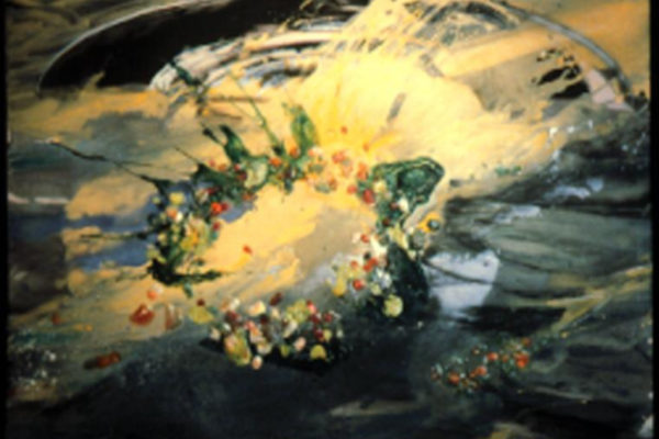 Susan Feindel. Wreaths for Blessing the Fishing Fleet, Port Medway #6. Acrylic on canvas, 135 x 166 cm (1986)