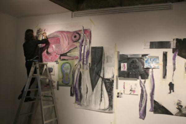 The Encounter, drawings installation in progress (2008)