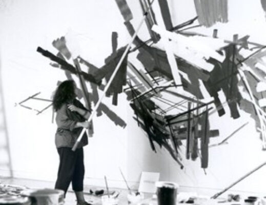 Tracking painting installation, MSVU Art Gallery, work in progress, August 2004- Denyse Thomasos at work (2004)