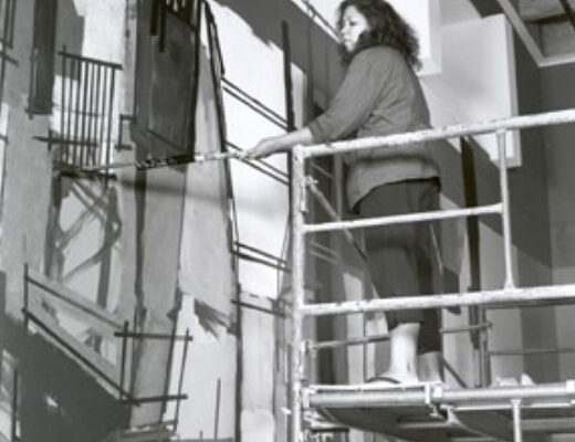 Tracking painting installation, MSVU Art Gallery, work in progress, August 2004- Denyse Thomasos at work. Photo- Gary Castle (2004)