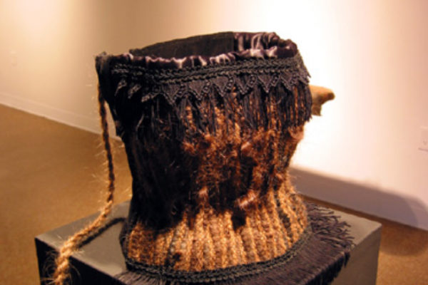 whitefeather. dreaded corps baleine 2002. woven dreadlocks, handspun hair, corduroy and embellishments. Courtesy of the artist (2002)
