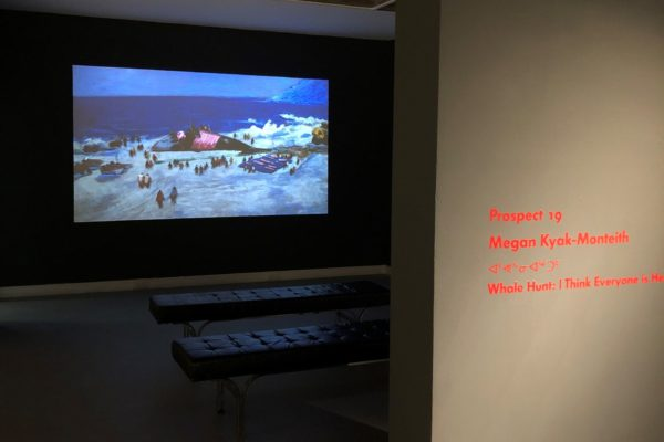 Megan Kyak-Monteith, Whale Hunt: I Think Everyone Is Here. Installation view at MSVU Art Gallery, 2020.